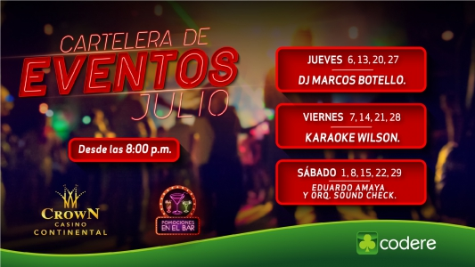 CARTELERA DE EVENTOS CrowN JULIO 2017, CrowN_PANTALLA_CONTINENTAL-01